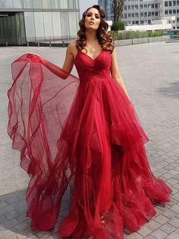 d2866d54ba A Line Spaghetti Straps High Low Floor Length Tulle Prom Dresses