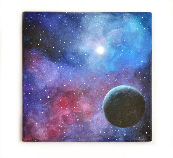 "Original painting, art, OOAK, acrylic, space, blue black, moon, galaxy, acrylic painting, contemporary, abstract landscape, canvas, 7.9x7.9"" - $55"