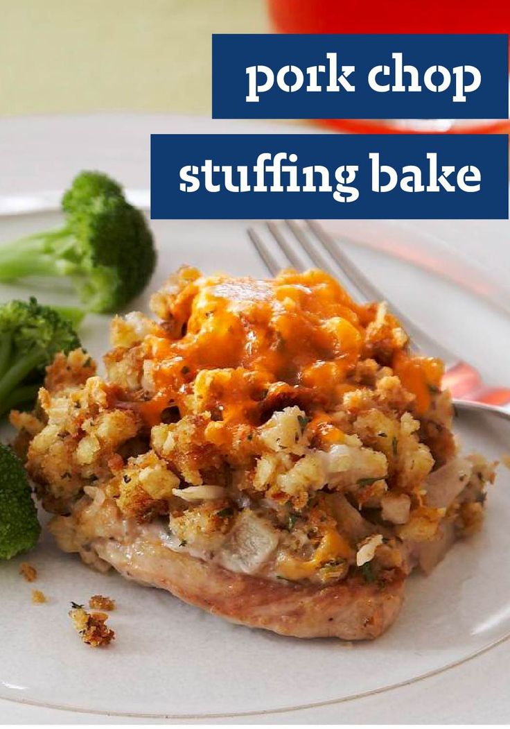 Pork Chop Stuffing Bake – Oh my yum. That's really all we can say about our juicy, saucy, cheesy stuffing-topped pork chops.