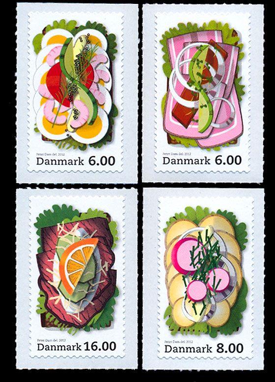 Smørrebrød stamps -- love it!
