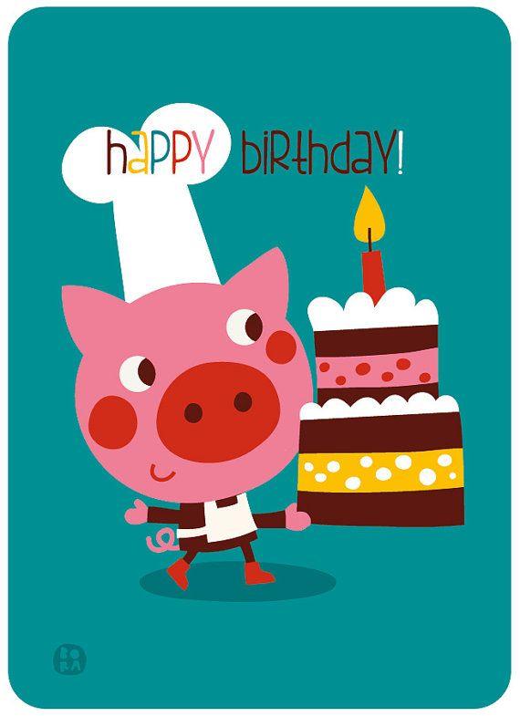 Happy Birthday verjaardagskaart met envellop piggy door ByBora