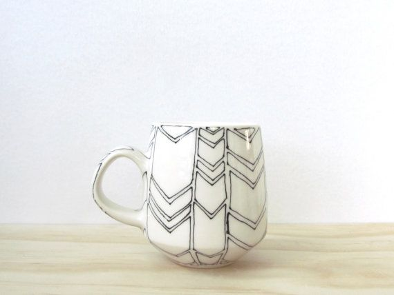 Black and White Chevron Tea or Coffee Mug. Arrows. Graphic. Minimal. Unique porcelain ceramic mug. Modern kitchen. Home decor. MADE TO ORDER