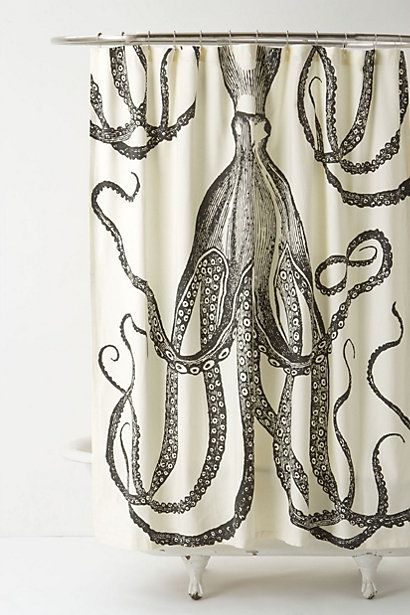 """Octopus Garden Shower Curtain  #anthropologie 72"""" square By Thomas Paul  Twelve buttonholes  Cotton, linen  Machine wash  72"""" square  Imported  Style #: 26862813  COLOR: DARK GREY"""