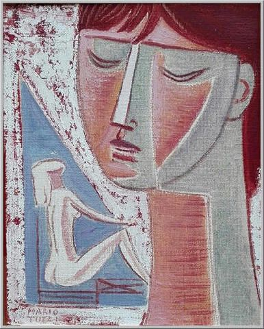 Mario Tozzi 1968: Testa.  Olio su Tela cm.35x27 - Collezione Privata Viadana - Archivio n.1439 -  Catalogo Generale n.68/88.
