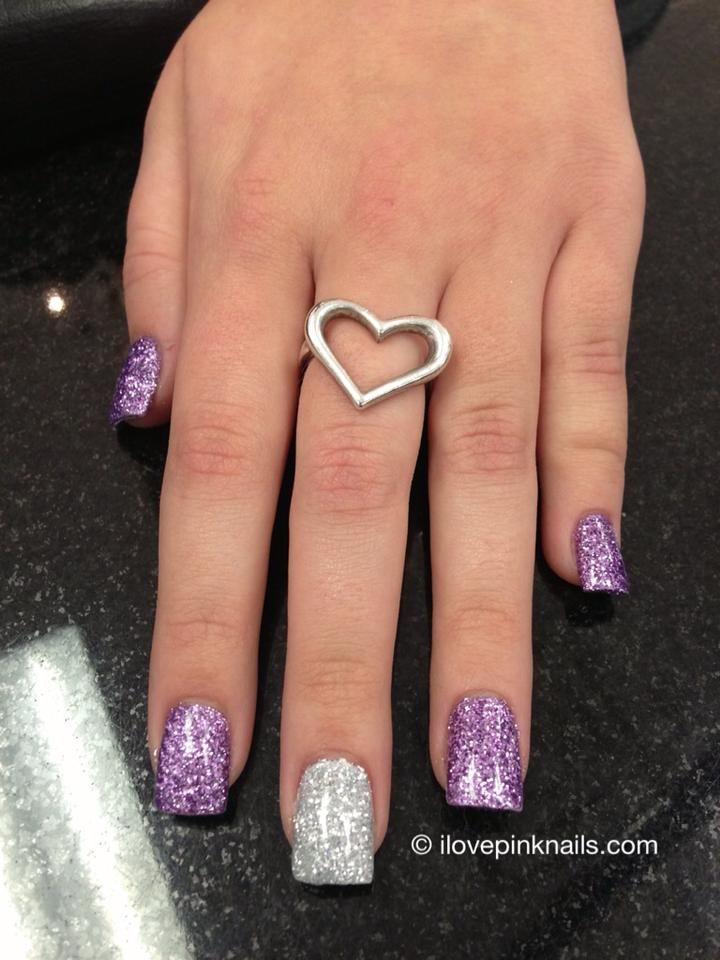 Lavender and Silver Rock Star Nails