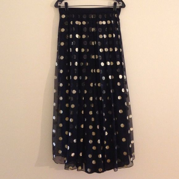 """HPVintage Paris Elegance design Yvette  Elegant black skirt with gold Mylar 1 inch dots  with black lining . It is 37 inches long. size 36 euro/ 8 U.S.the waist is a set in waist and measures 29.5"""" with a Back zipper  Yvette  Dresses"""