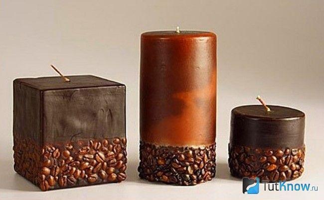 Свечи, украшенные кофейными зернами