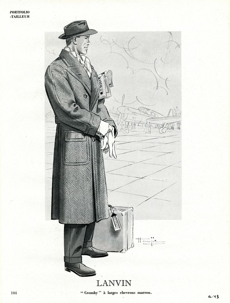 Pardessus à larges chevrons marron, Lanvin 1948 © Patrimoine Lanvin. #Lanvin125