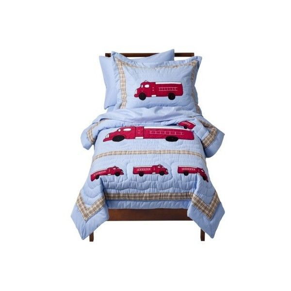 Sweet Jojo Designs Frankie's Fire Truck 5 pc. Toddler Bedding Set ($110) ❤ liked on Polyvore featuring bedding sets and kids' bedding