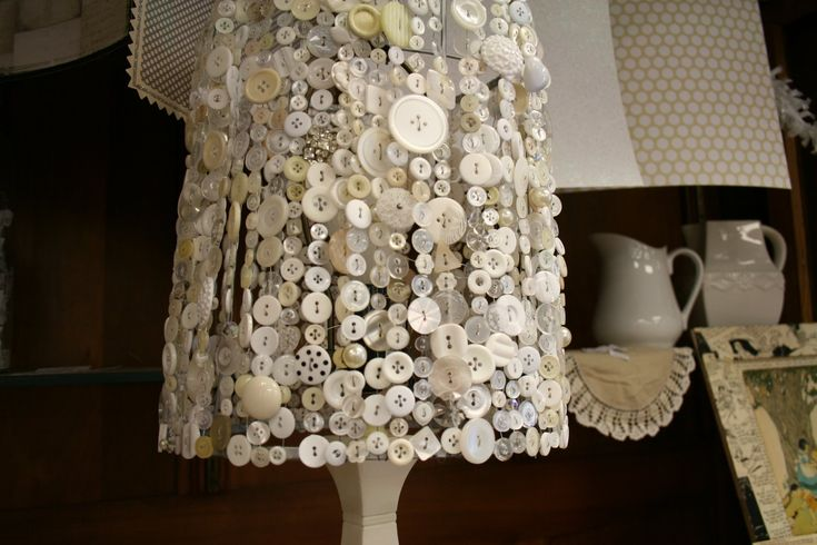 Button Lampshade - this would be easy to make - you just need lots of buttons - via Kate Likes This