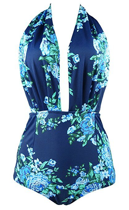 2cd514c3bc9 COCOSHIP Blue   Navy Antigua Floral Retro One Piece Backless Bather  Swimsuit Pin Up Swimwear Maillot S(FBA)