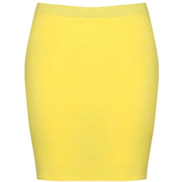 Boohoo Maisy Basic Bodycon Mini Skirt | Boohoo ($6) ❤ liked on Polyvore featuring skirts, mini skirts, pleated skirt, yellow maxi skirt, yellow skirt, yellow mini skirt and short mini skirts