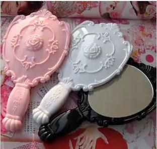Lady Vintage Rose Cosmetic Mirror Plastic Makeup Mirror Cute Girl Hand Make Up Black White Pink Etched Mirrors Extra Large Decorative Mirrors From Topelec, $11.52| Dhgate.Com