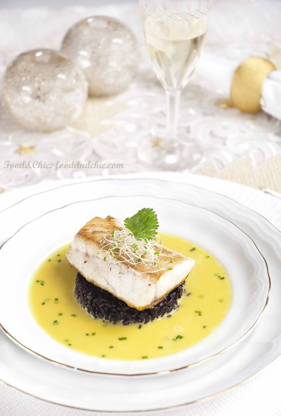 Roasted Seabass with Black Rice and Bouillabaisse