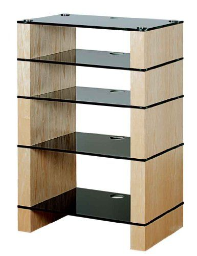 blok stax deluxe 500 five shelf ash hifi stand av tv rack unit. Black Bedroom Furniture Sets. Home Design Ideas