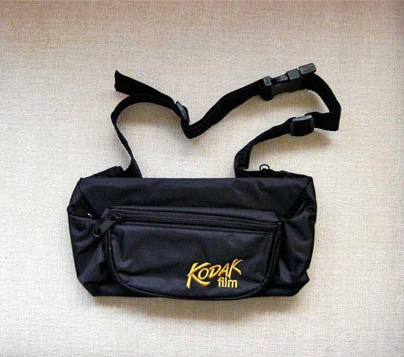 Kodak Camera Fanny Pack Zippered Purse Black Waist Pouch by NutmegCottage on Etsy