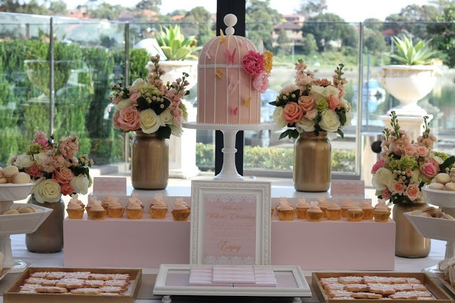 Pink and gold dessert table created by www.alittlepolkadot.com.au