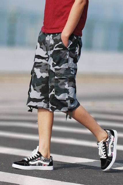 Evjsuse, camo cargo military camouflage shorts casual