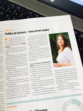 Meillä tasa-arvo perustuu pieniin, konkreettisiin tekoihin, kertoo HR Business Partner Maija Tantere Fakta-lehdessä. http://www.esimiehenkasikirja.fi/uutiset/palkka+yli+toiveen++tasaarvon+vuoksi/a2321916