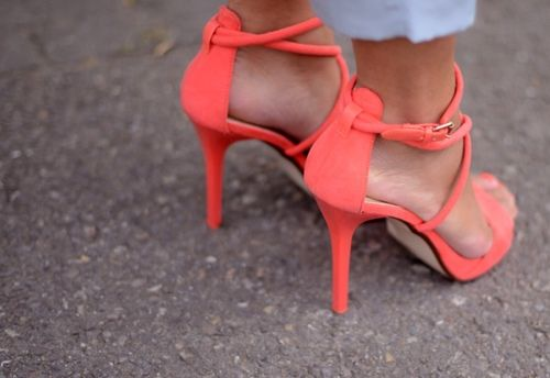 20120818-065232.jpg: Colour, Fashion Shoes, Coral Heels, Style, Colors, Feet, Coralneon Heels, Coral Strappy, Peaches Heels