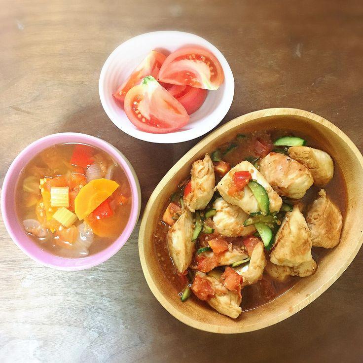 スープダイエット5日目でついにお肉♡ 鶏胸肉のメープルトマト炒め