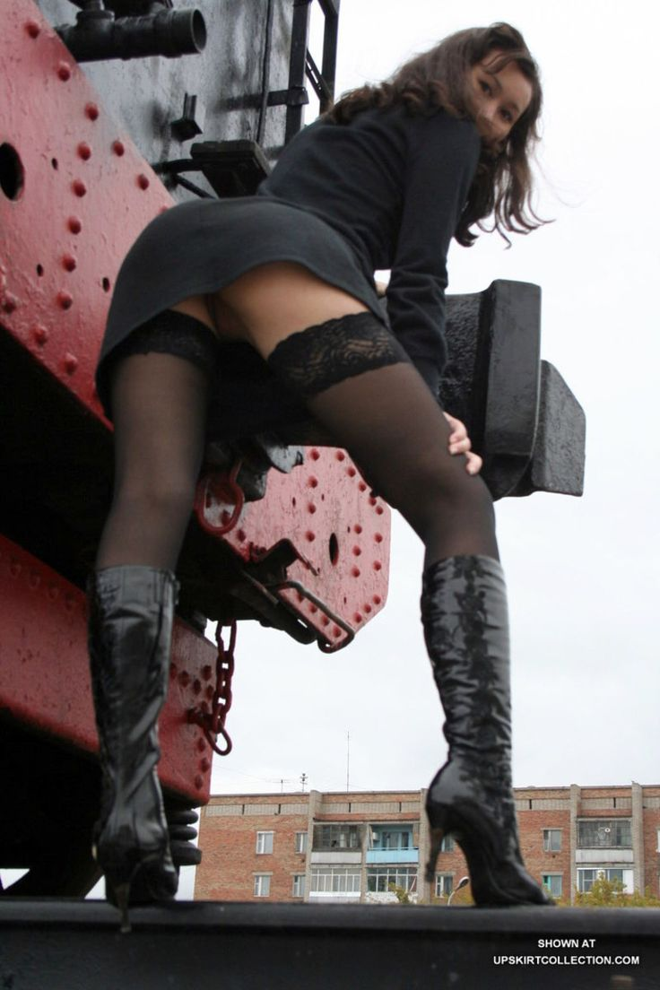 Upskirt pantyhose and knee high boots