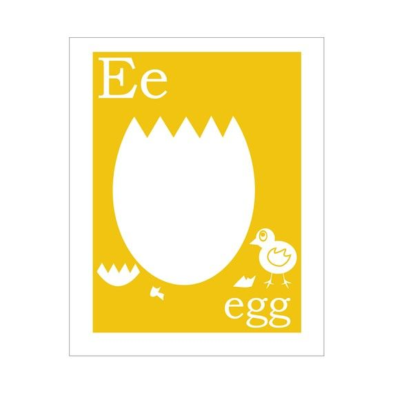 E is for Egg 8x10 inch print by FinnyAndZook on Etsy, $14.00