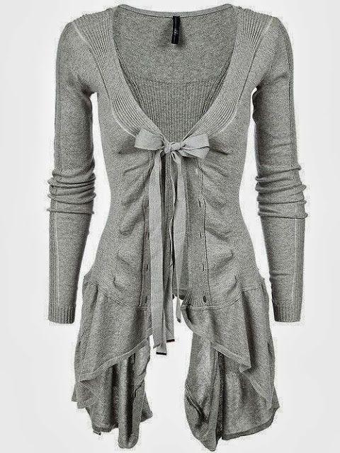 Adorable long light grey cardigan ladies sweater | Fashion World