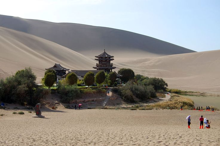 Dunhuang monastery and lake, Silk Road, Gansu, China