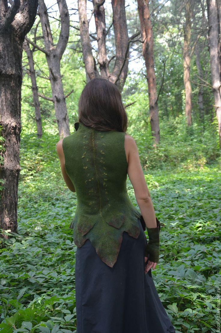 Купить Жилет валяный Лесная принцесса - зеленый, зеленый жилет, валяный зеленый…