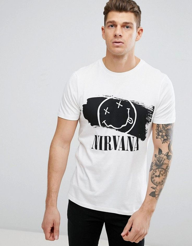 New Look T-Shirt With Nirvana Print In White - White