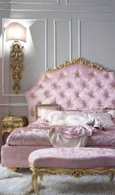 Absolutely Stunning Pink tufted & gold border bed with gray wall's and white trim & gold accessories!  A girls dream!