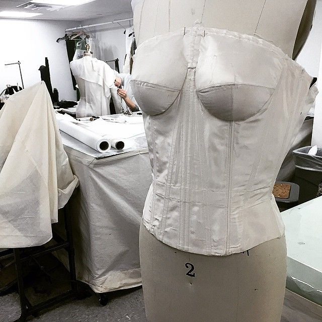 """""""Inside the gown and #zacposen #atelier #process #craft #corset #understructure #madeinnyc"""""""