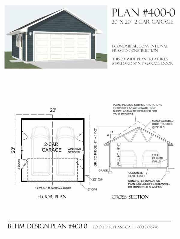 2 car basic garage has 16' wide twocar garage door and a