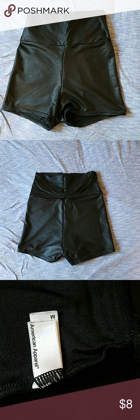 American Apparal High Waisted Short Short These high wasted short shorts are super sexy and fun.  Pleather material. American Apparel Shorts