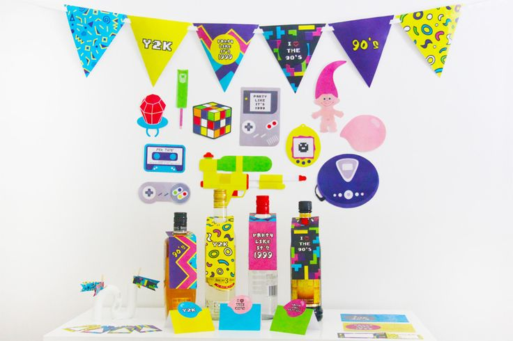 Party like it's 1999! Relive the awesome decade that was the 90s with these decorations. From classic 90s kid toys like Game Boy and Super Soaker to Tamagotchi