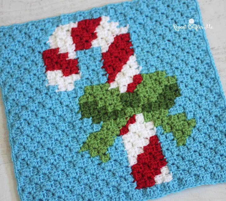 Crochet Candy Cane Pixel Square                                                                                                                                                     More