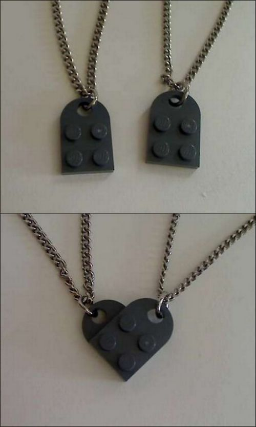 His and hers: Bff Necklaces, Idea, Couple Necklaces, Best Friends, Bestfriends, Heart Necklaces, Friendship Necklaces, Valentines Day Gifts, Lego Heart