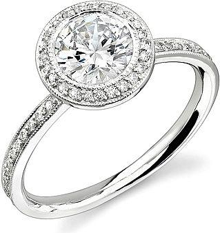 Stardust Bezel Set Diamond Engagement Ring w/ Round Halo .40cttw  : This beautif…