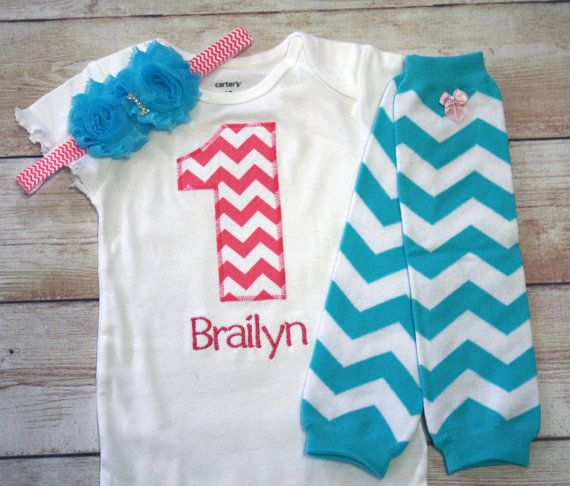 "Birthday ""1"" Shirt for Girls 1st Birthday - 1st Birthday Outfit - Hot Pink and Aqua Chevron Birthday - For 1st Birthdays"