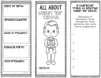 """This two-sided tri-fold William """"Bill"""" Clinton biography brochure template allows students to dig deeper into facts about the former United States of America president. An interactive notebook pocket has been provided, however, these brochures can be created as a stand alone project as well.ALL USA presidents are available as well as many other historical figures!"""
