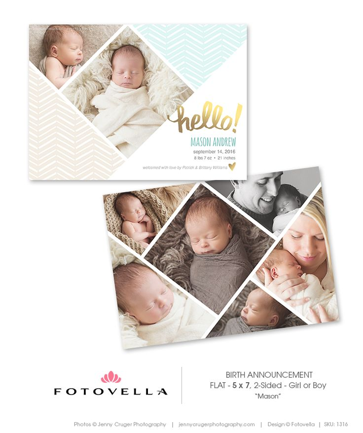 """Birth Announcement Templates """"Baby Mason"""" by FOTOVELLA • Featured images courtesy © Jenny Cruger Photography"""
