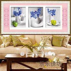 Среда обитания Главная 5D Стич элегантная гостиная Триптих точная печать стежка последний салон ваза для цветов