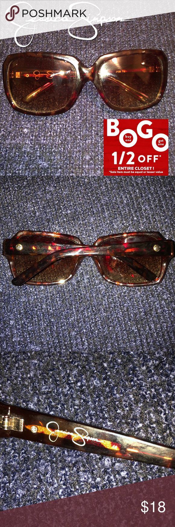 Jessica Simpson Women Brown Tortoise Sunglasses Purchased to wear but never did! NWOT! No case but will provide a dust bag for storage. Jessica Simpson brown tortoise Sunglasses with brown tint. Great price for a chic pair of Sunnies!! Jessica Simpson Accessories Sunglasses