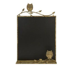 """26.5"""" In the Birches Honey Brown Owl Chalkboard Wall Decoration by CC Home Furnishings. $79.99. From the In the Birches CollectionItem #10877Whimsical honey brown owl and branch border surround a wall chalkboardDimensions: 26.5""""H x 17.75""""W x 3""""DMaterial(s): iron/chalkboard. Save 17% Off!"""
