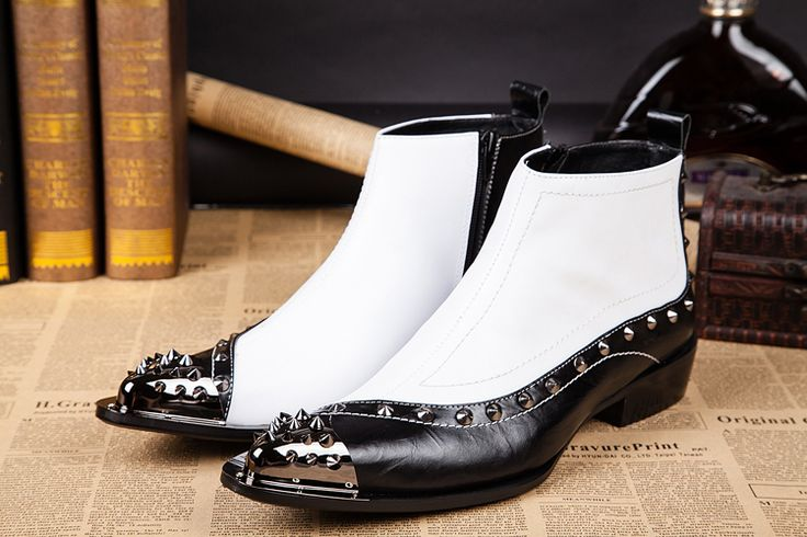 Brand Fashion Italian Men Dress Boots Genuine Leather Booties Black White Cowboy Boots Men Ankle Boots Wedding Men Dress Shoes