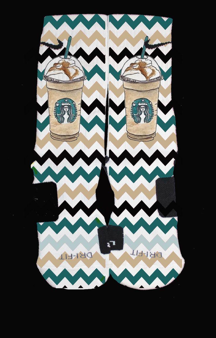 The Sickest Socks — Starbucks Mocha Color Inspired Custom Nike Elites
