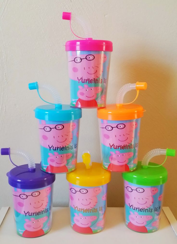 Peppa Pig Party Favor Cups Personalized With Thanks for coming, Peppa Pig Birthday Treat Cups Set of 6, BPA Free