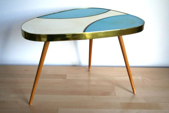 Rare Mid Century Coffee Table 1960s Retro Germany Blue And White