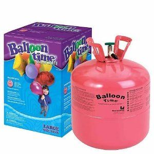 """Disposable Helium Tank by BESPOLITAN INC.. $26.39. Decorating is a breeze with this super time saver! This lightweight, disposable helium-filled tank comes with an easy-to-use nozzle and carry handles for easy transport. Tank can fill approximately (50) - 9"""" latex balloons, (27) - 11"""" latex balloons, (27) - 18"""" Foil Balloons, or (20) - 20"""" Foil Balloons. The number of latex balloons you can inflate depends on the size you choose to create - larger sizes yield fewer filled bal..."""